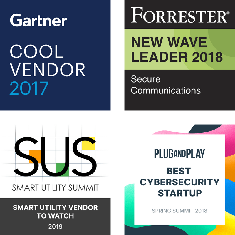 Gartner Cool Vendor 2017 Forrester New Wave Leader 2018 SUS Smart Utility Vendor to Watch 2019 Plug and Play Best Cybersecurity Startup 2018